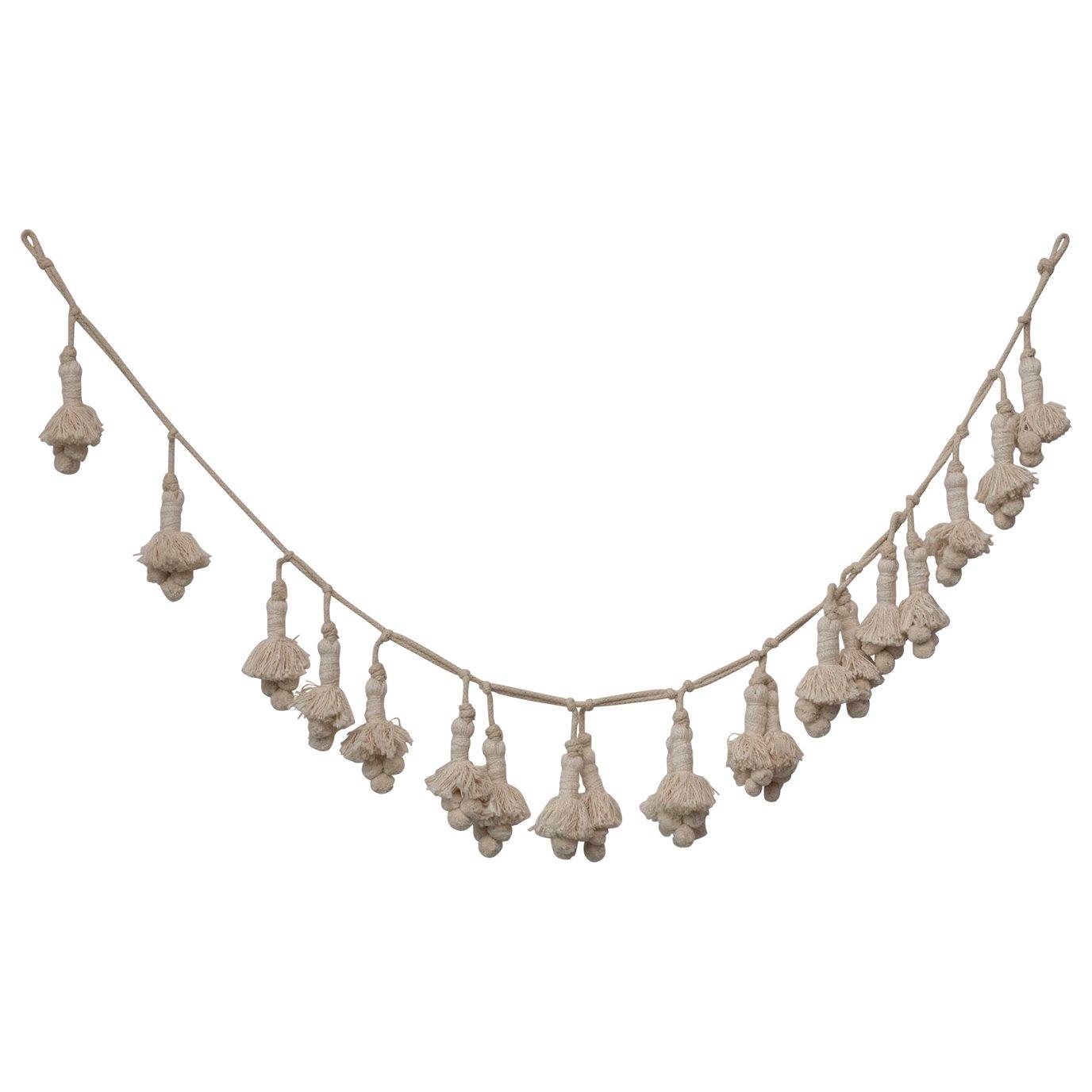 """72""""L Handwoven Cotton Tassel Garland"""