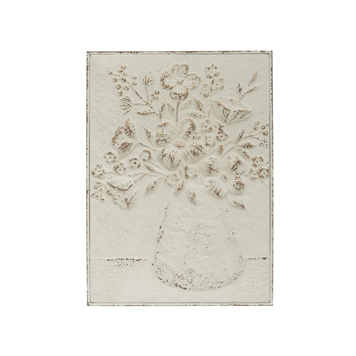 "24""H Embossed Flowers in Vase Distressed Metal Wall Décor"