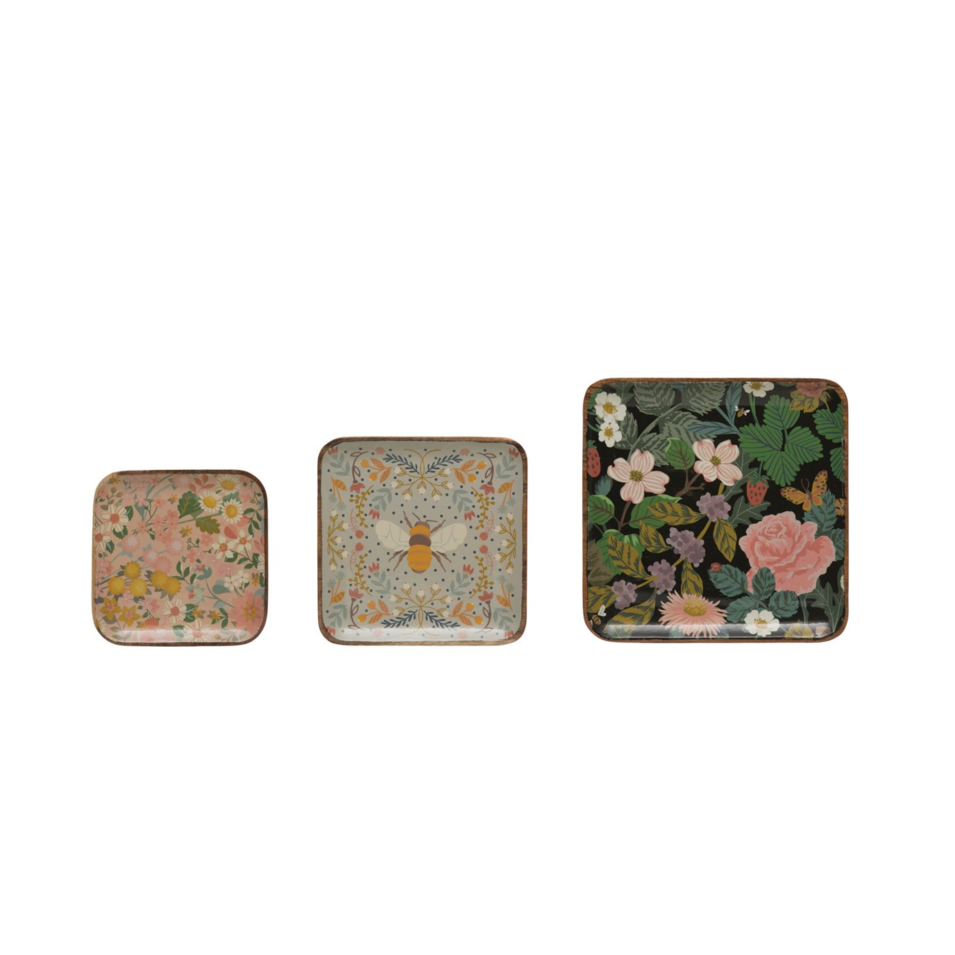 Square Enameled Acacia Wood Trays with Floral & Bee Patterns (Set of 3 Sizes/Patterns)