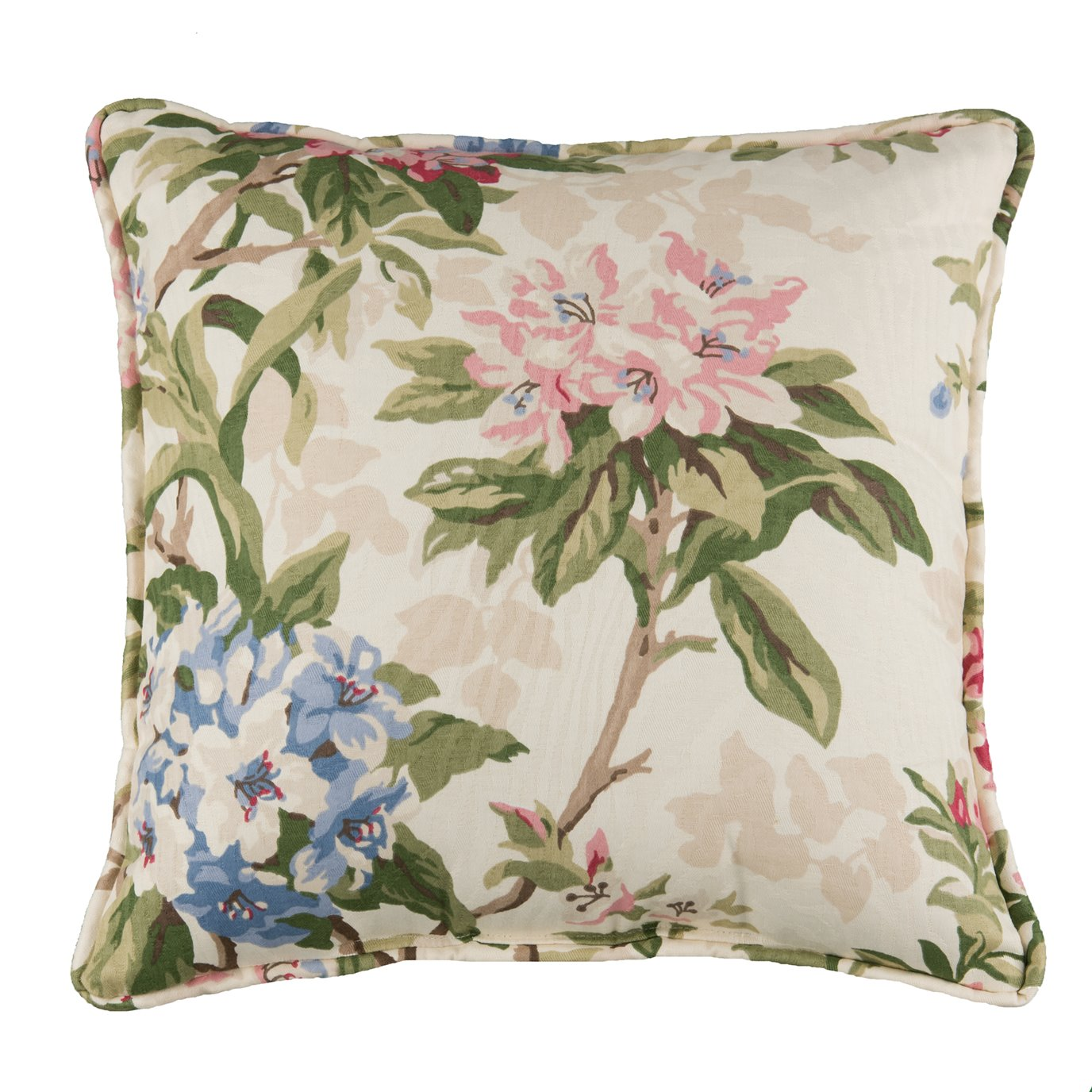 """Hillhouse Square Pillow - Floral 17"""" Piped"""
