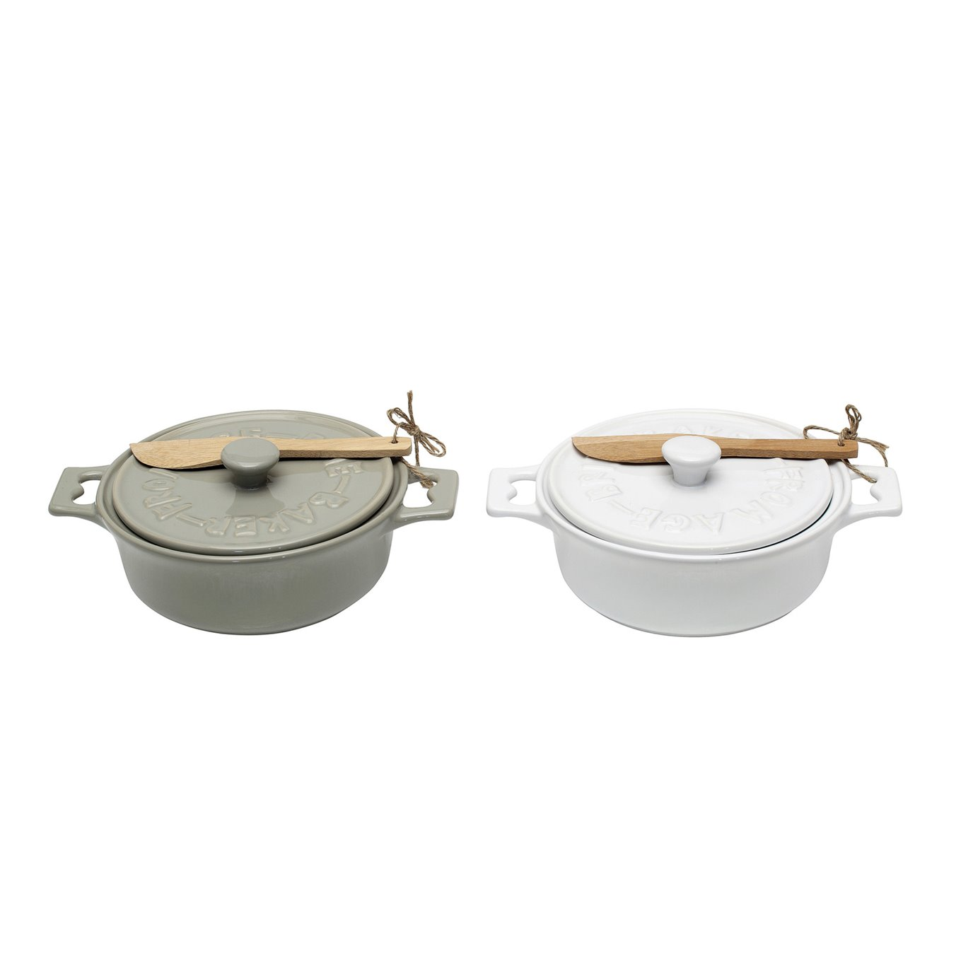 Brie Bakers with Lids & Wood Spreaders (Set of 2 Colors)