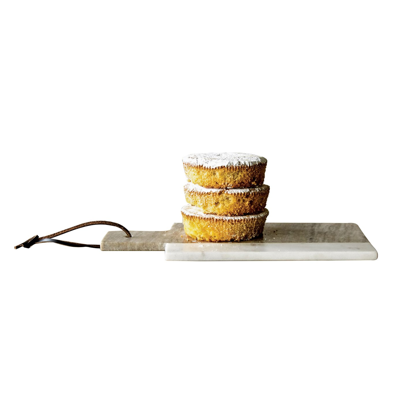 Grey & White Rectangle Marble Cheese Board with Leather Tie
