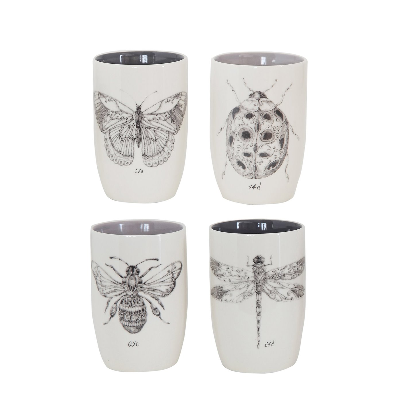 Stoneware Tumblers with Insect Images (Set of 4 Designs)