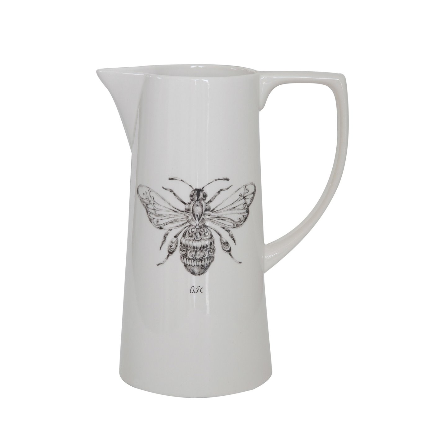 White Ceramic Pitcher with Bee Image