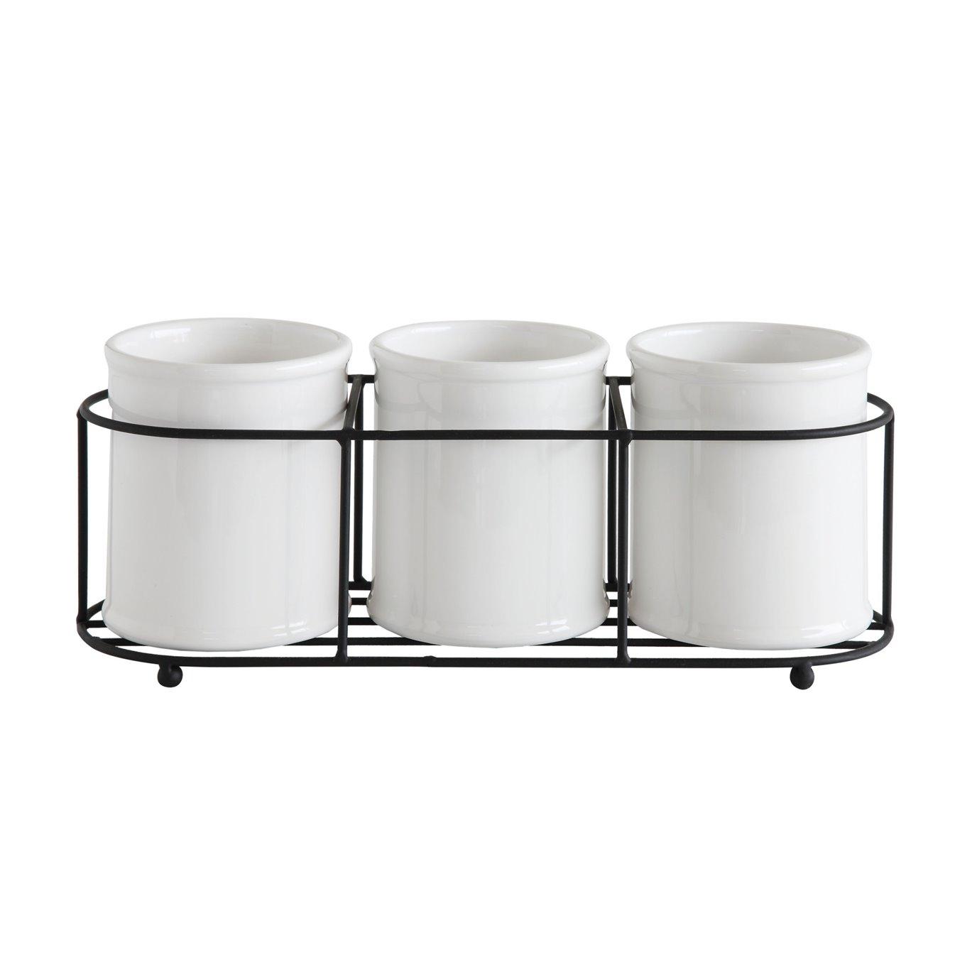 Set of 3 White Ceramic Crocks in Black Metal Holder