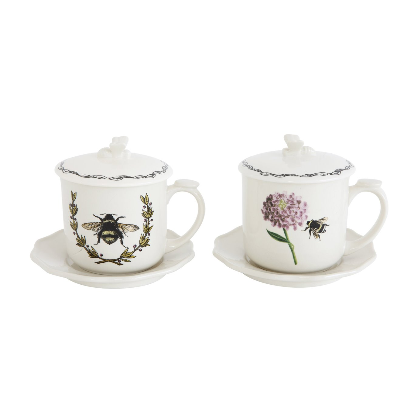 Cup with Bee Image, Lid, Saucer & Strainer (2 Styles with 4 Pieces Each)