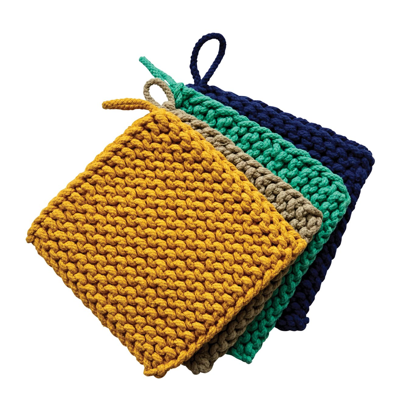 Square Cotton Crocheted Pot Holders (Set of 4 Colors)