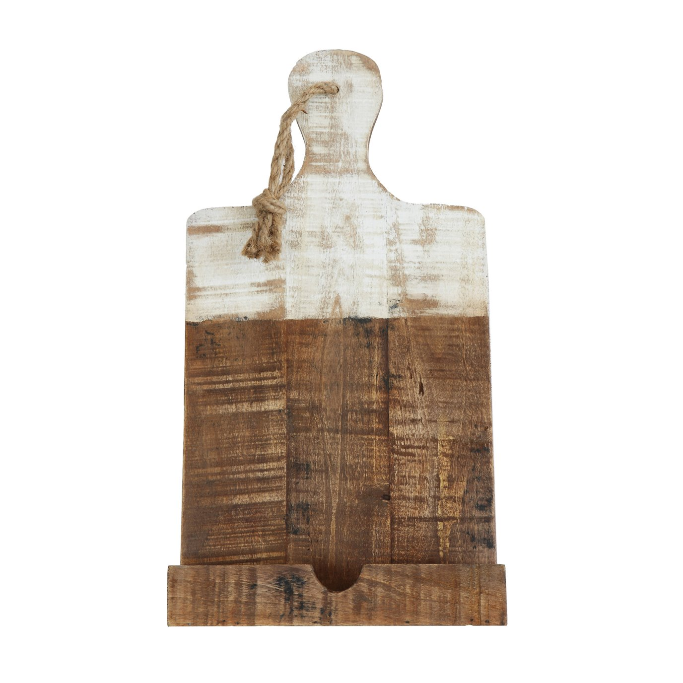 Distressed White Dipped Wood Tablet Holder