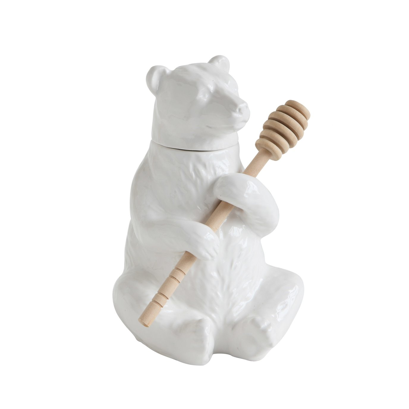 White Bear Shaped Honey Pot with Lid & Bamboo Dipper (Set of 2 Pieces)