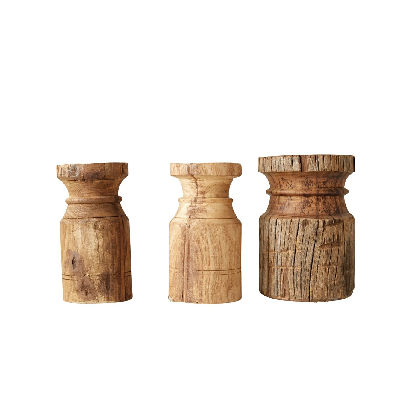 Found Carved Wood Pillar Candleholder (each one will vary)