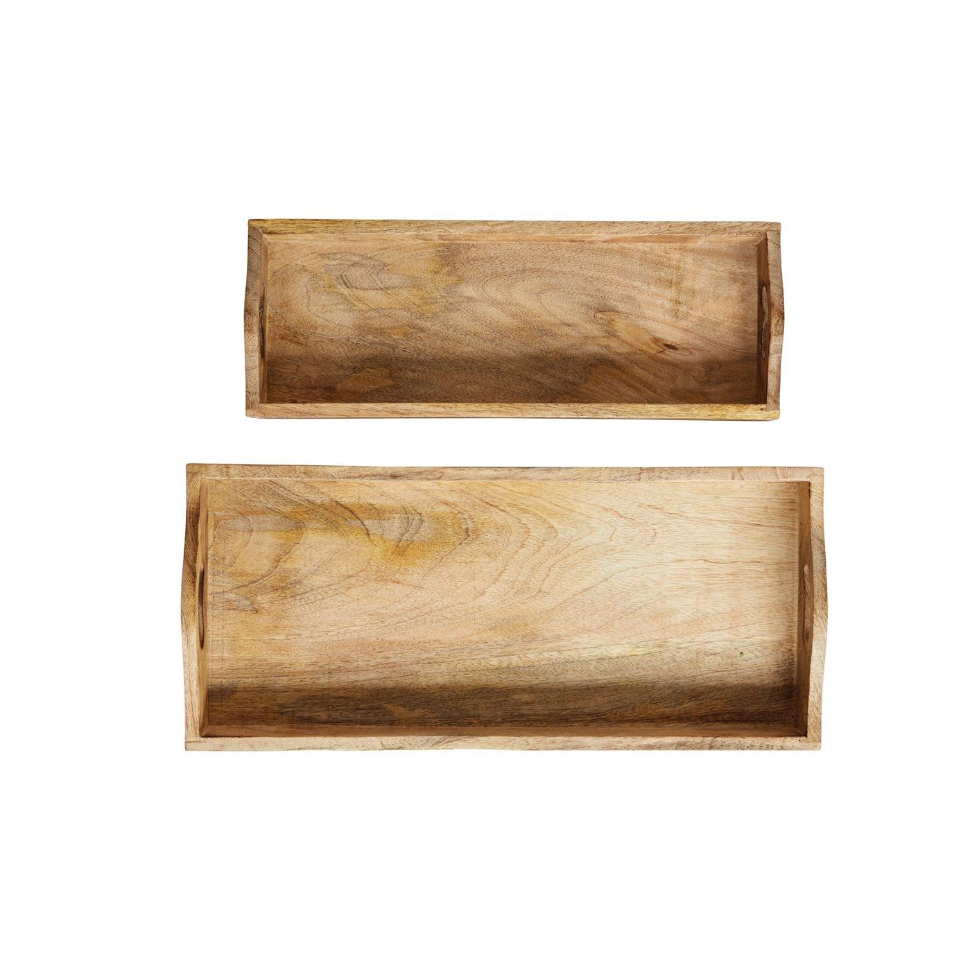 Rectangle Mango Wood Trays (Set of 2 Sizes)