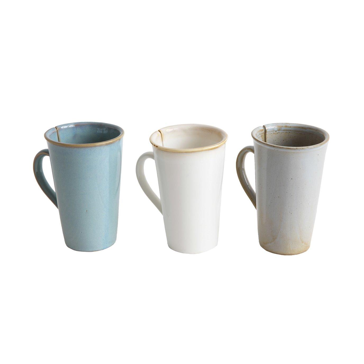 Mugs with Tea Bag Slots on Sides (Set of 3 Colors)