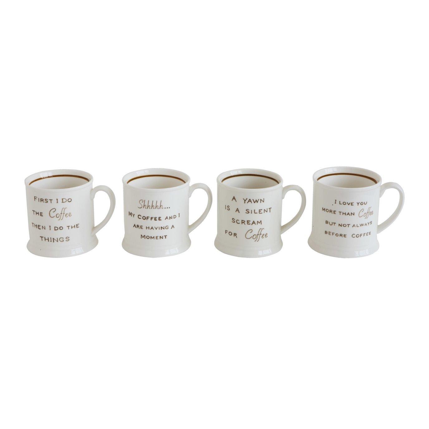 Mugs with Coffee Sayings (Set of 4 Designs/Sayings)