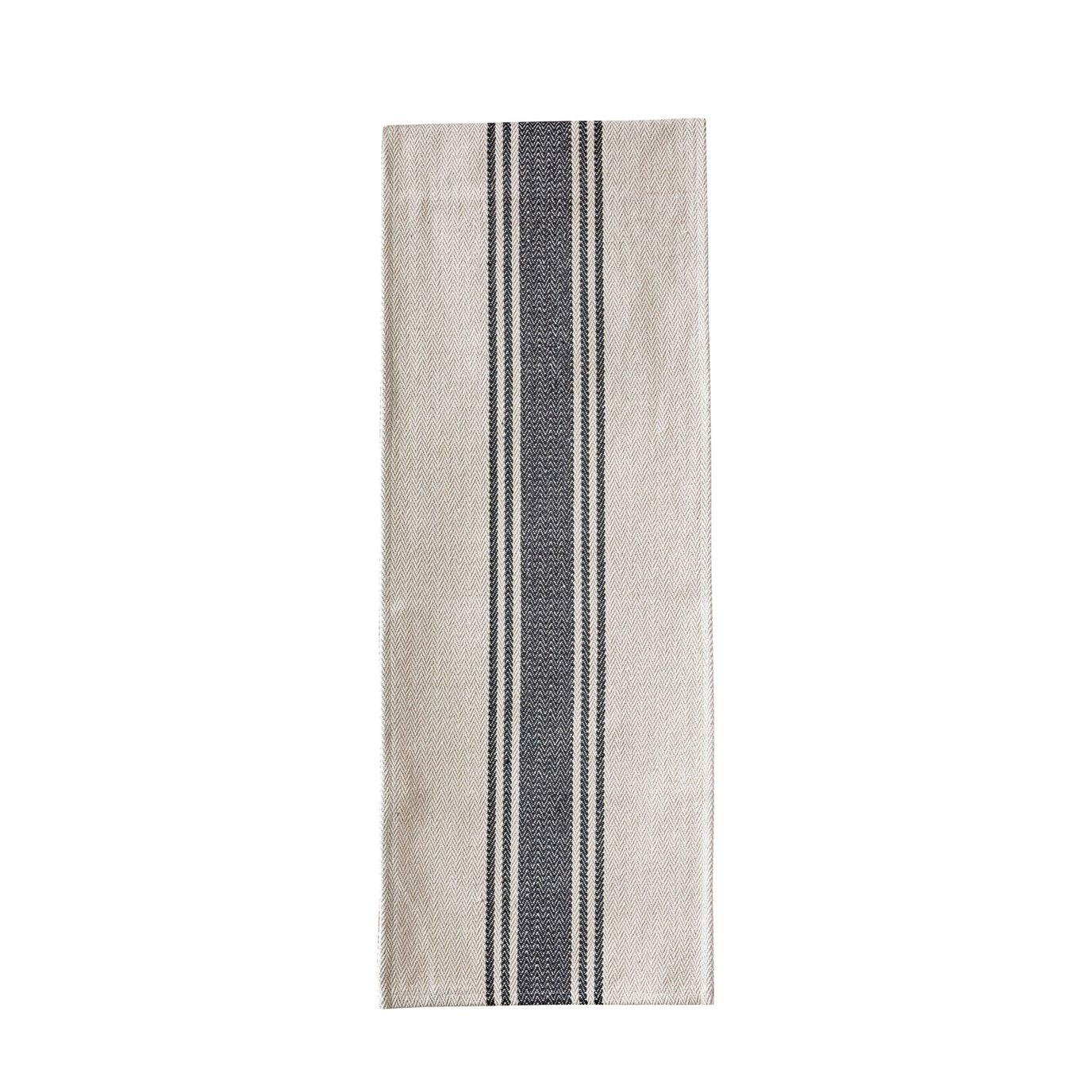 Canvas Table Runner with Black Stripes
