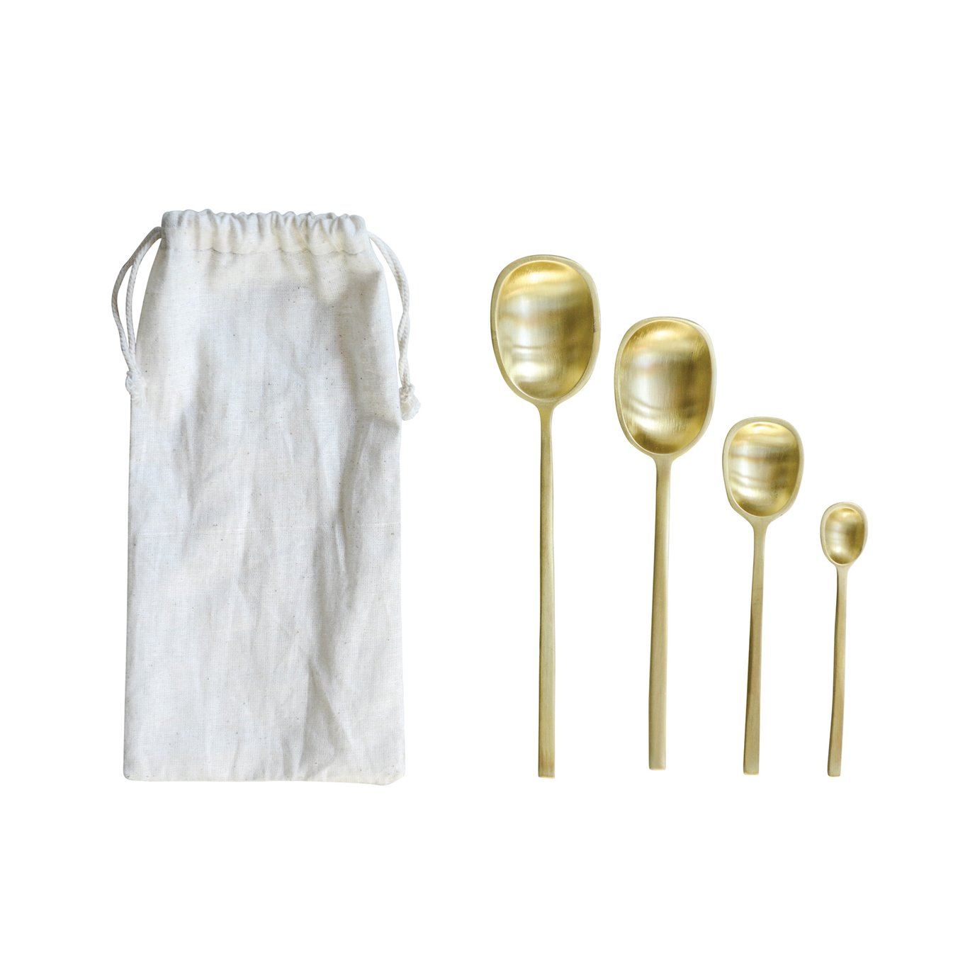 Brass Spoons with Drawstring Bag (Set of 4 Sizes)
