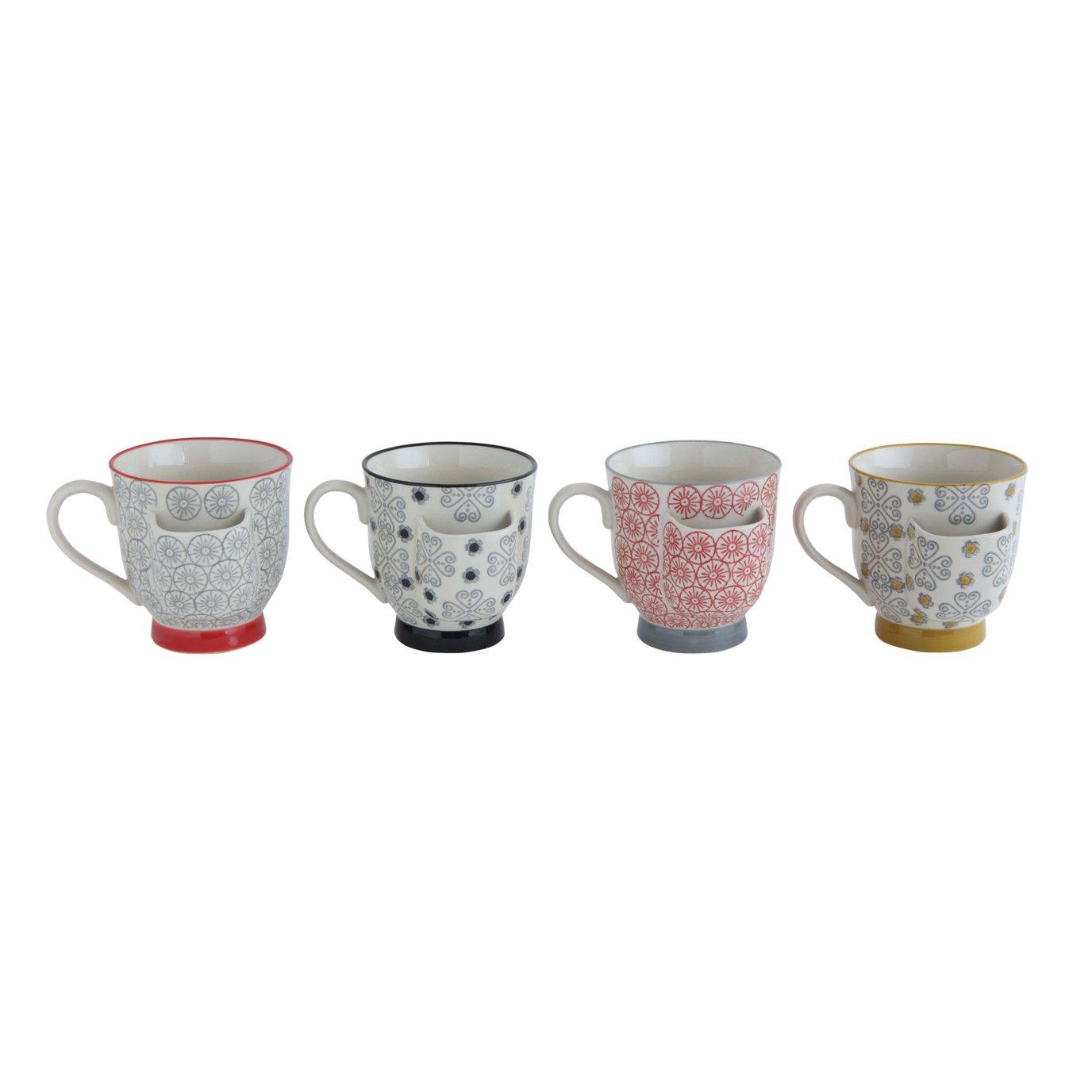 Decorative Stoneware Mugs with Tea Bag Holders (Set of 4 Designs)