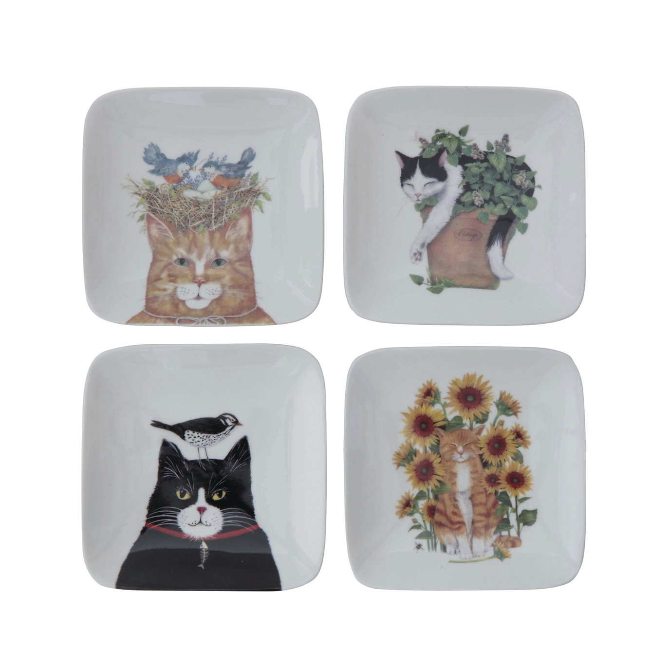 Square Stoneware Plate with Cat Image (Set of 4 Styles)
