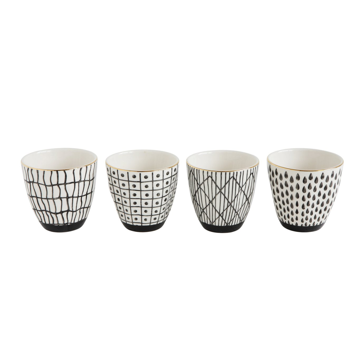 Black & White Stoneware Cup with Gold Electroplating (Set of 4 Designs)