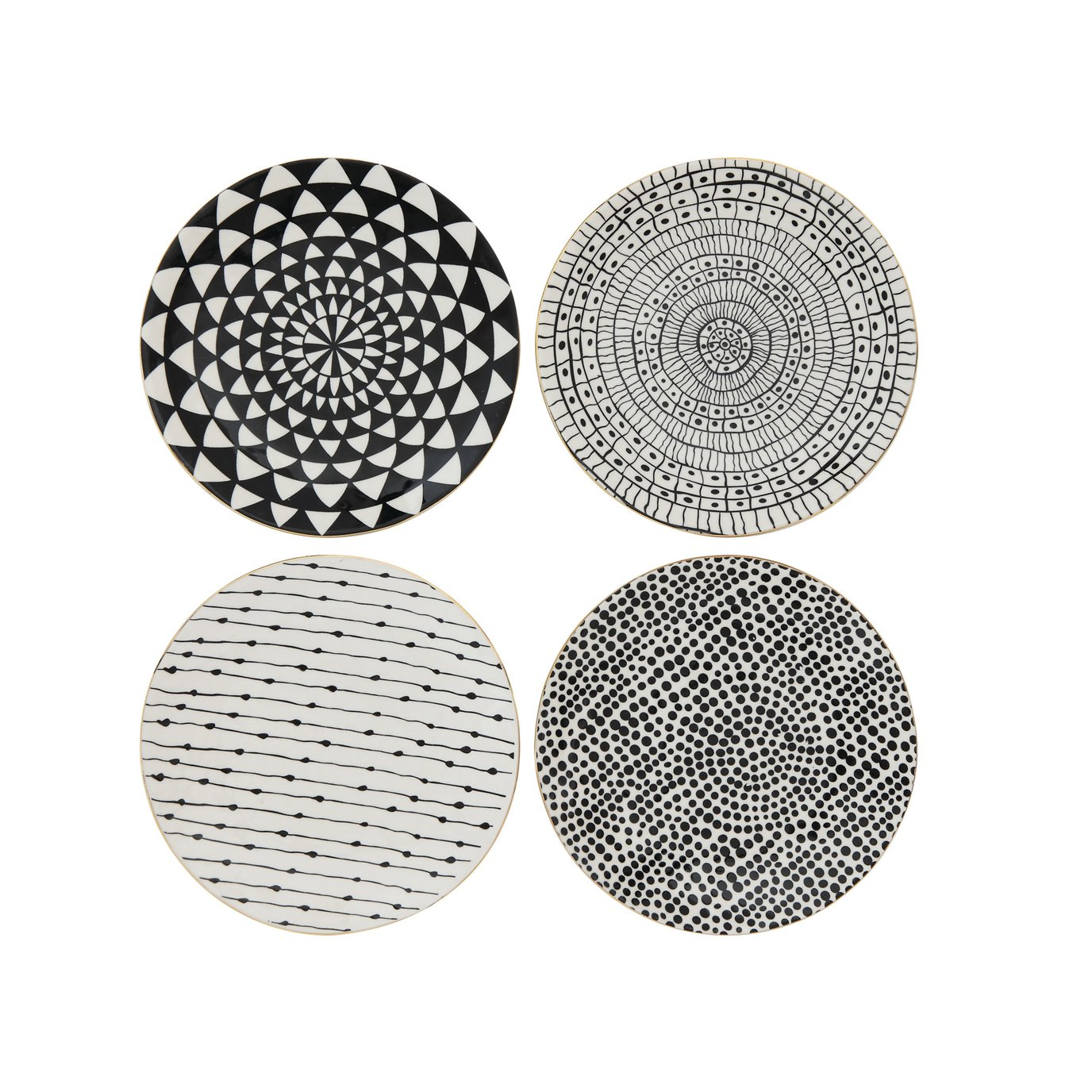 Black & White Stoneware Plate with Gold Electroplating (Set of 4 Designs)