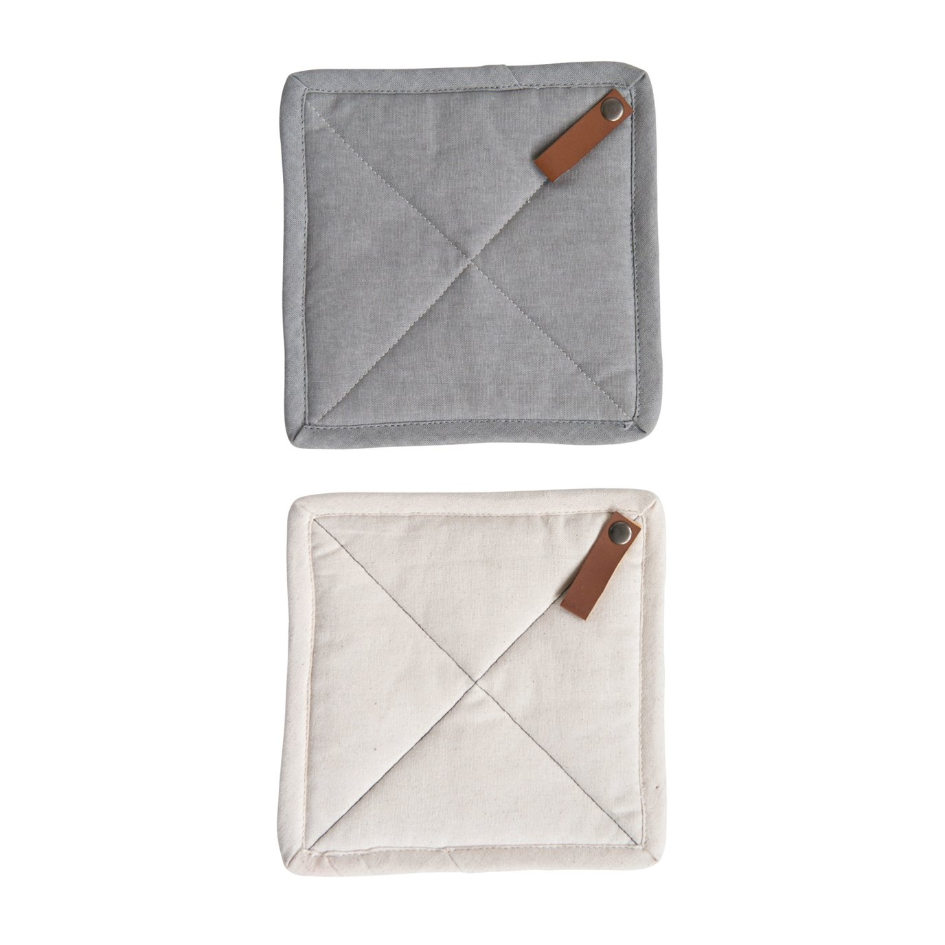 Square Cotton Pot Holder with Leather Loop (Set of 2 Colors)