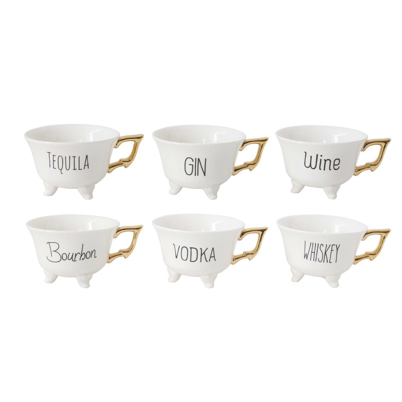"Stoneware ""Liquor"" Mugs with Gold Electroplating (Set of 6 Designs)"