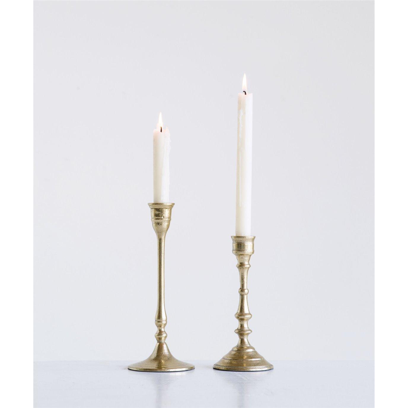 Decorative Gold Aluminum Taper Holders (Set of 2 Sizes)