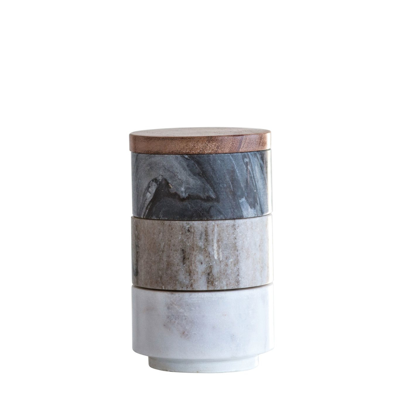 Marble Stacking Pinch Pots with Acacia Wood Lid (Set of 3 Pieces)