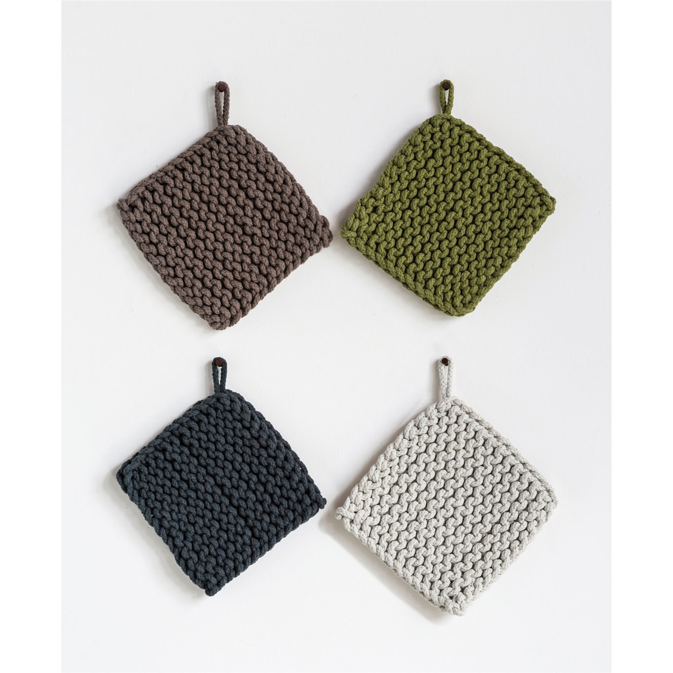 Square Cotton Crocheted Pot Holder (Set of 4 Colors)