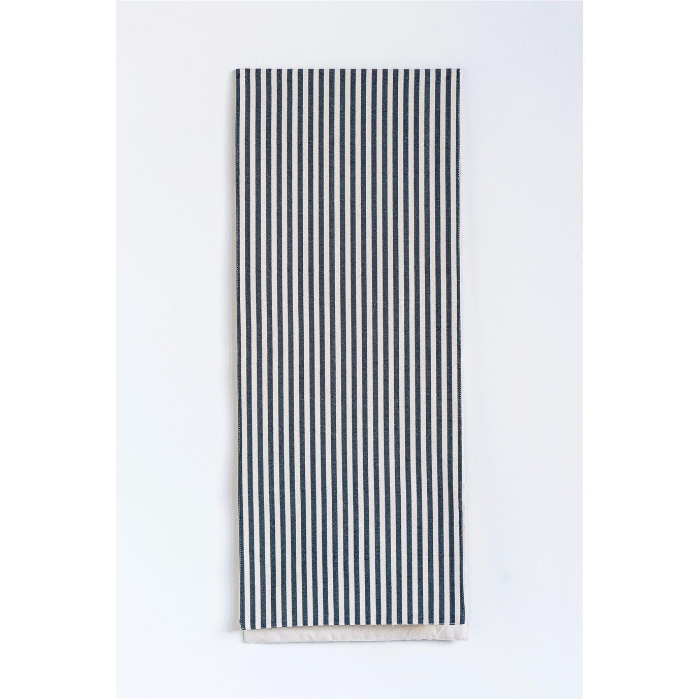 Black & White Striped Cotton Table Runner