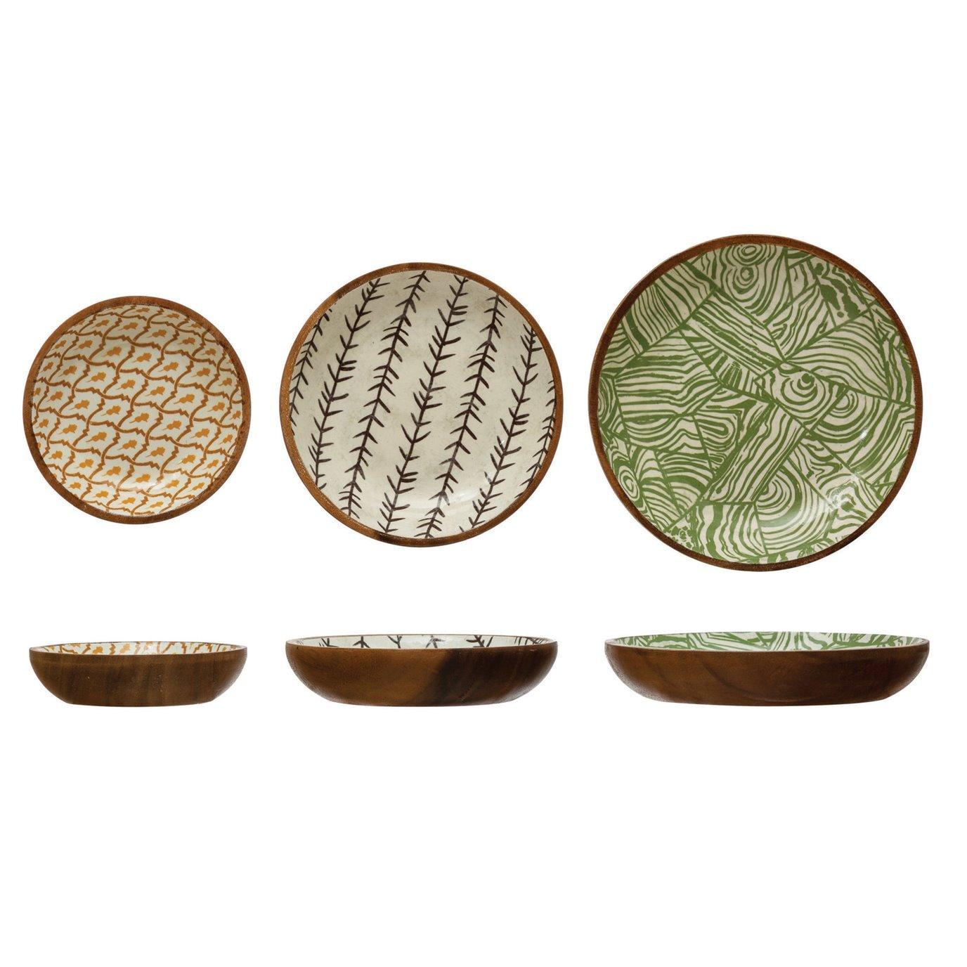Enameled Acacia Wood Bowls with Print, Set of 3 ©