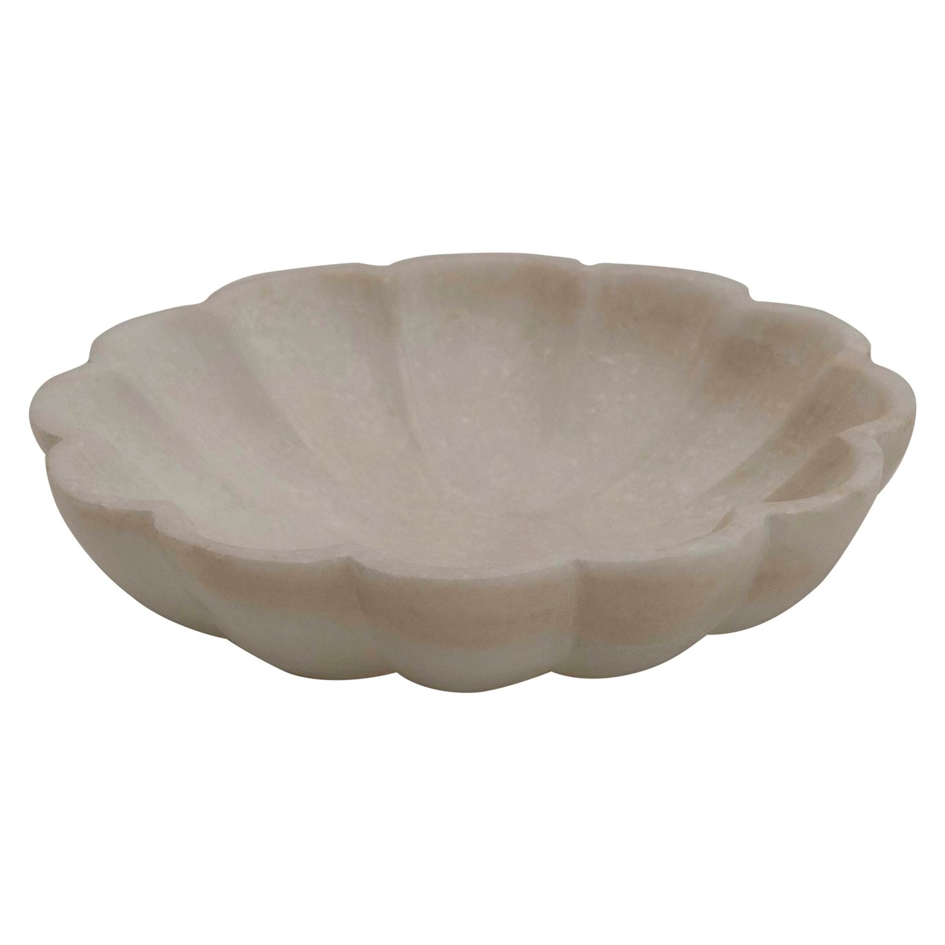 Carved Marble Flower Shape Dish