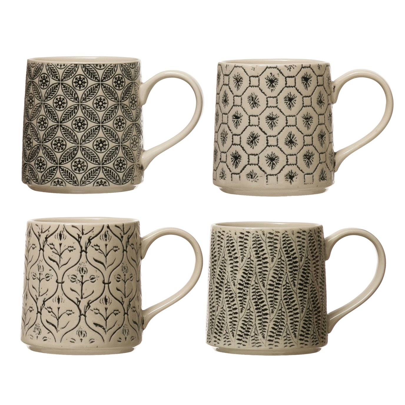 16 oz. Hand-Stamped Stoneware Mug w/ Embossed Pattern, Black & Cream Color, 4 Styles