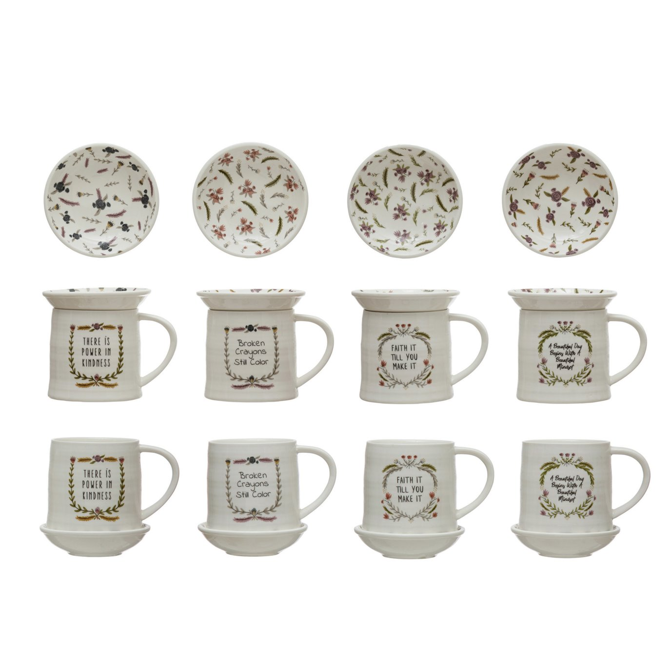 "Stoneware Mug w/ 4"" Round Snack Plate Topper & Saying, 4 Styles, Set of 2"