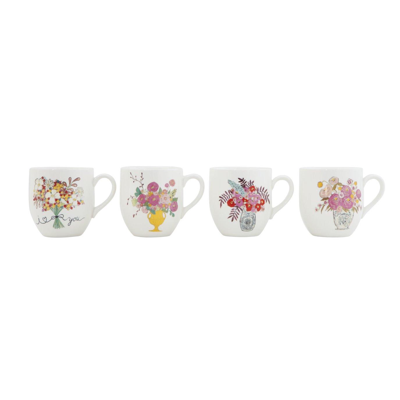 """I Love You"" Flower Bouquet Stoneware Mugs (Set of 4 Designs)"