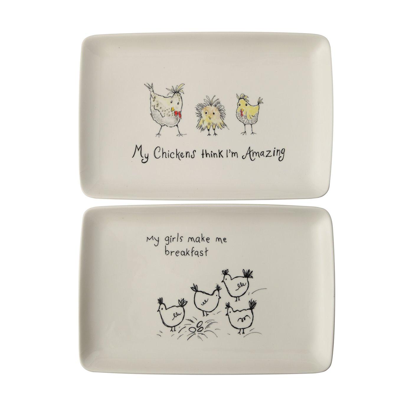 """My Chickens Think I'm Amazing"" Rectangle White Stoneware Platter (Set of 2 Designs)"