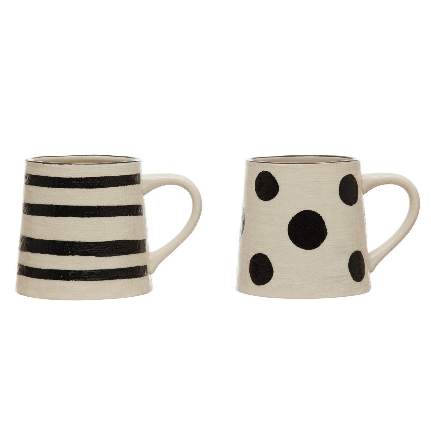 12 oz. Hand-Painted Stoneware Mug w/ Linen Texture, Black & White, 2 Styles