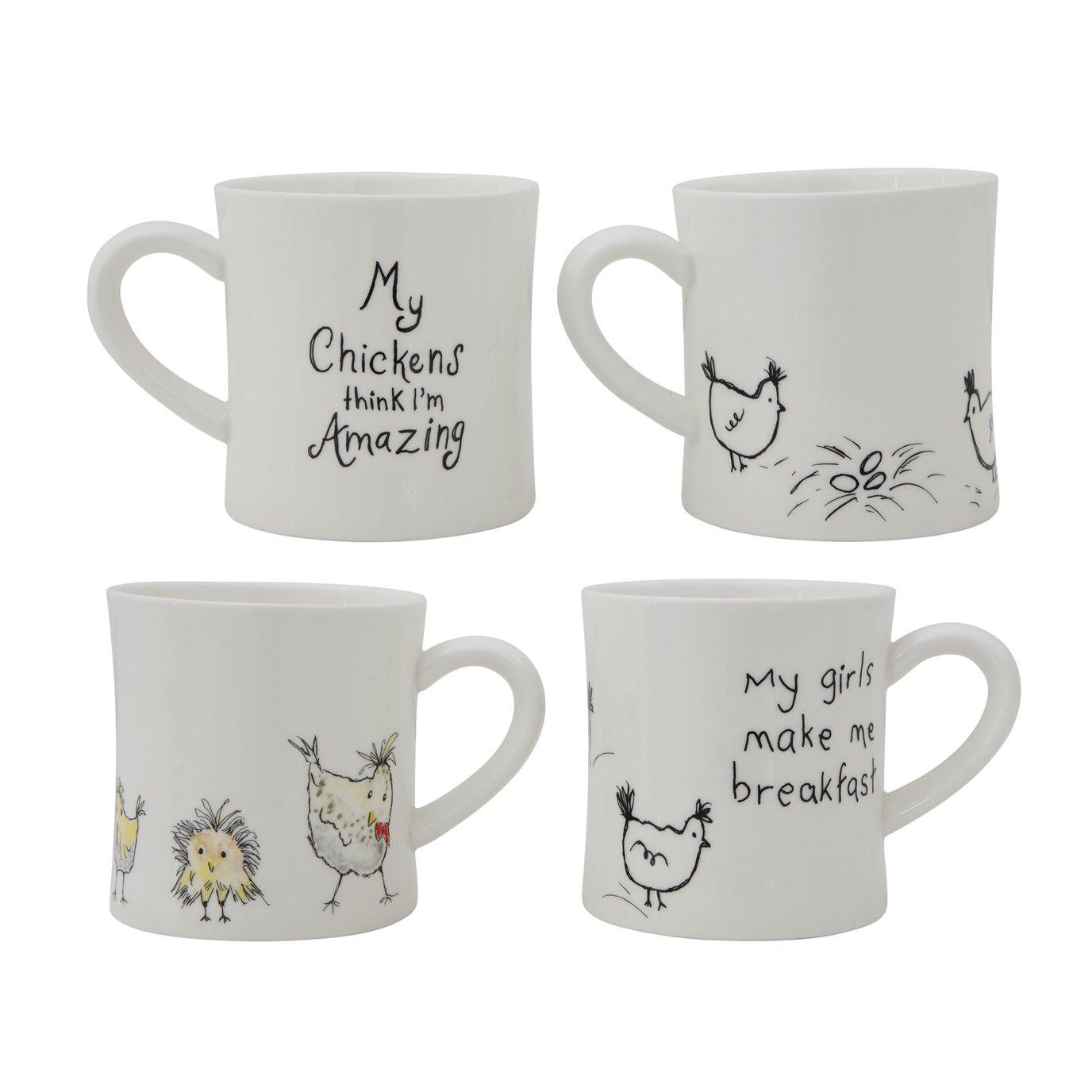 """""""My Chickens Think I'm Amazing"""" White & Black Stoneware Mug (Set of 2 Sayings)"""