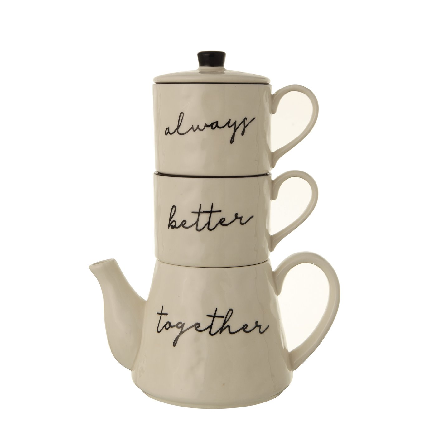 """White & Black """"Always Better Together"""" Stoneware Stacking Teapot & Mugs with Lid (Set of 3 Pieces)"""