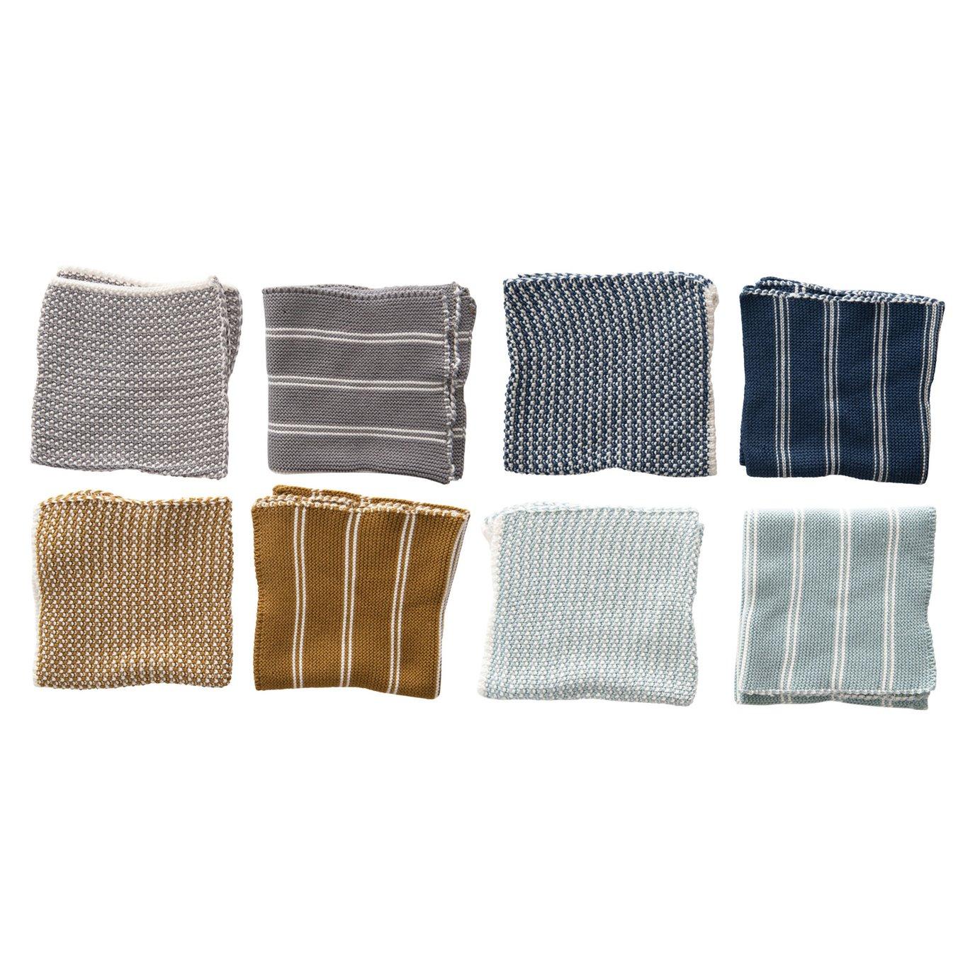 """12"""" Square Cotton Knit Dish Cloths, Set of 2, 4 Colors"""