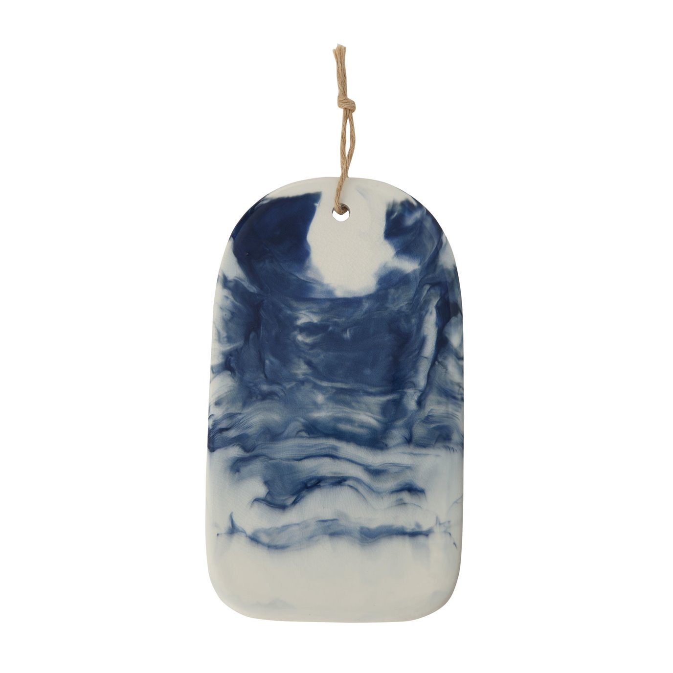 Blue & White Ceramic Cheese/Cutting Board with Marble Glaze Finish