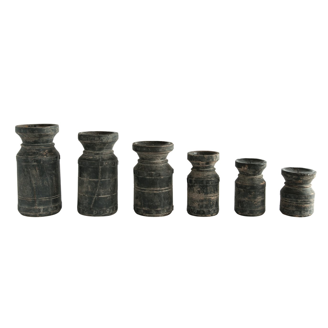 Black Found Wood Pillar Candleholders (Set of 6/Each one will vary)