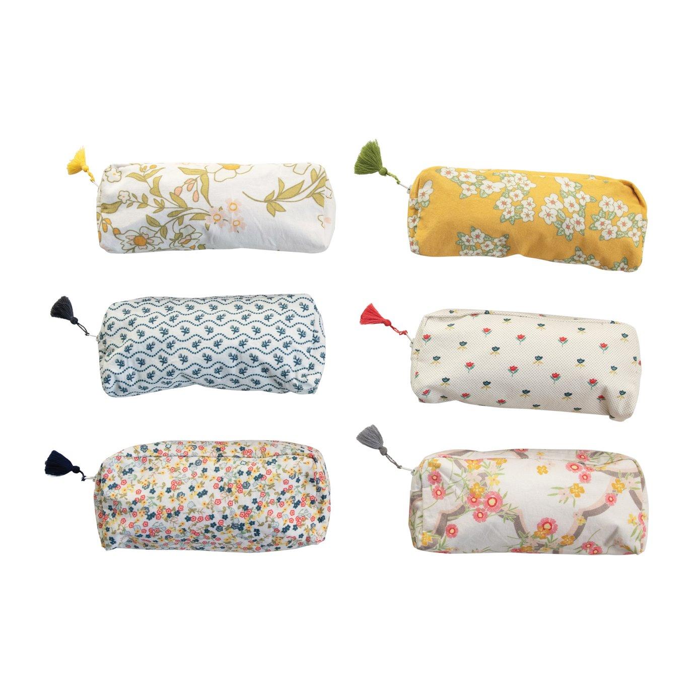 Cotton Printed Mandi Zip Pouch w/ Tassel & Interior Coating, 6 Styles ©