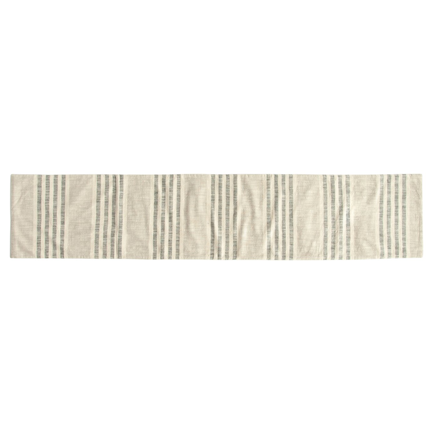 Grey Striped Cotton Woven Table Runner