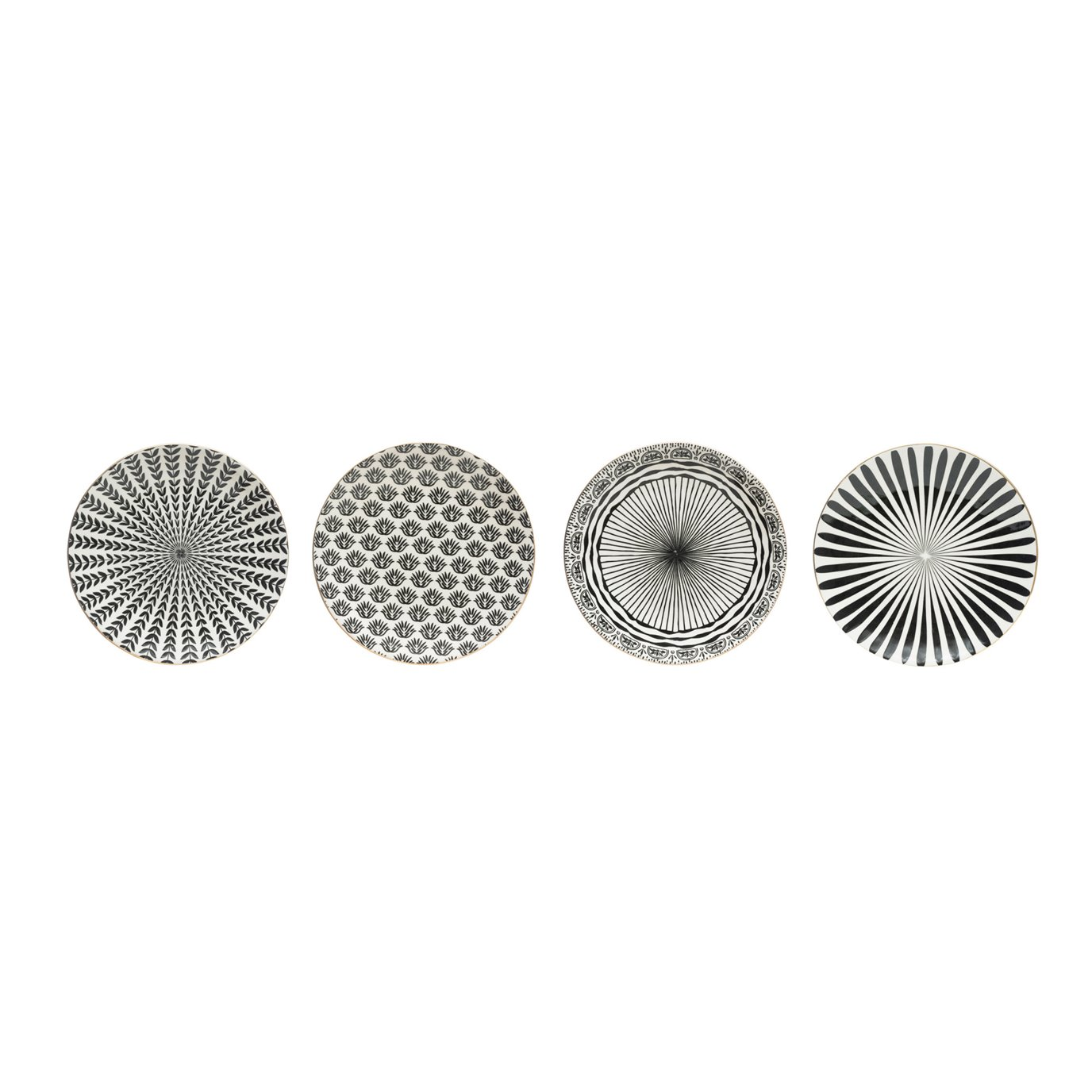 """8"""" Round Black & White Stoneware Plate with Gold Electroplating (Set of 4 Patterns)"""
