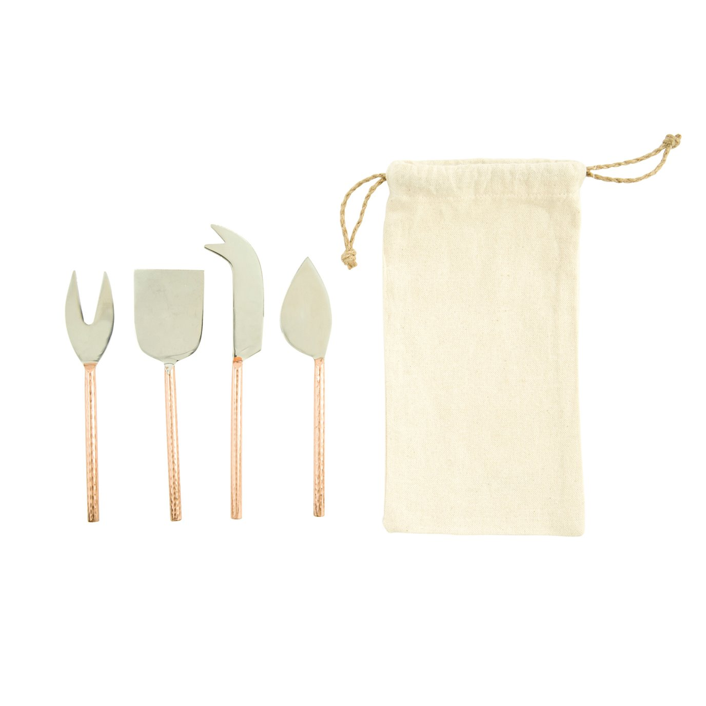 Stainless Steel Cheese Knives with Copper Finished Handle (Set of 4 Pieces in Drawstring Bag)