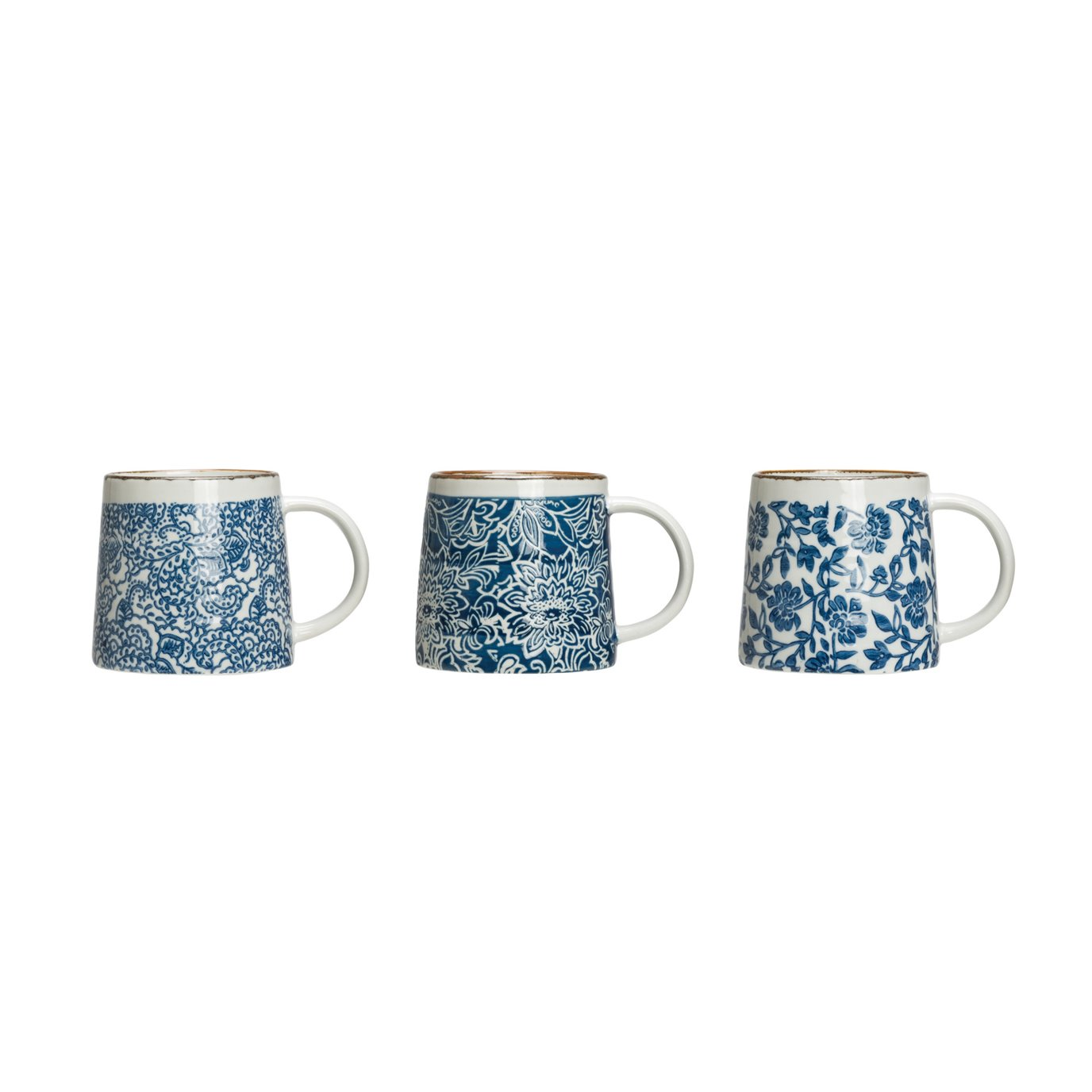 Blue & White Hand-Stamped Stoneware Mug with Gold Rim (Set of 3 Patterns)
