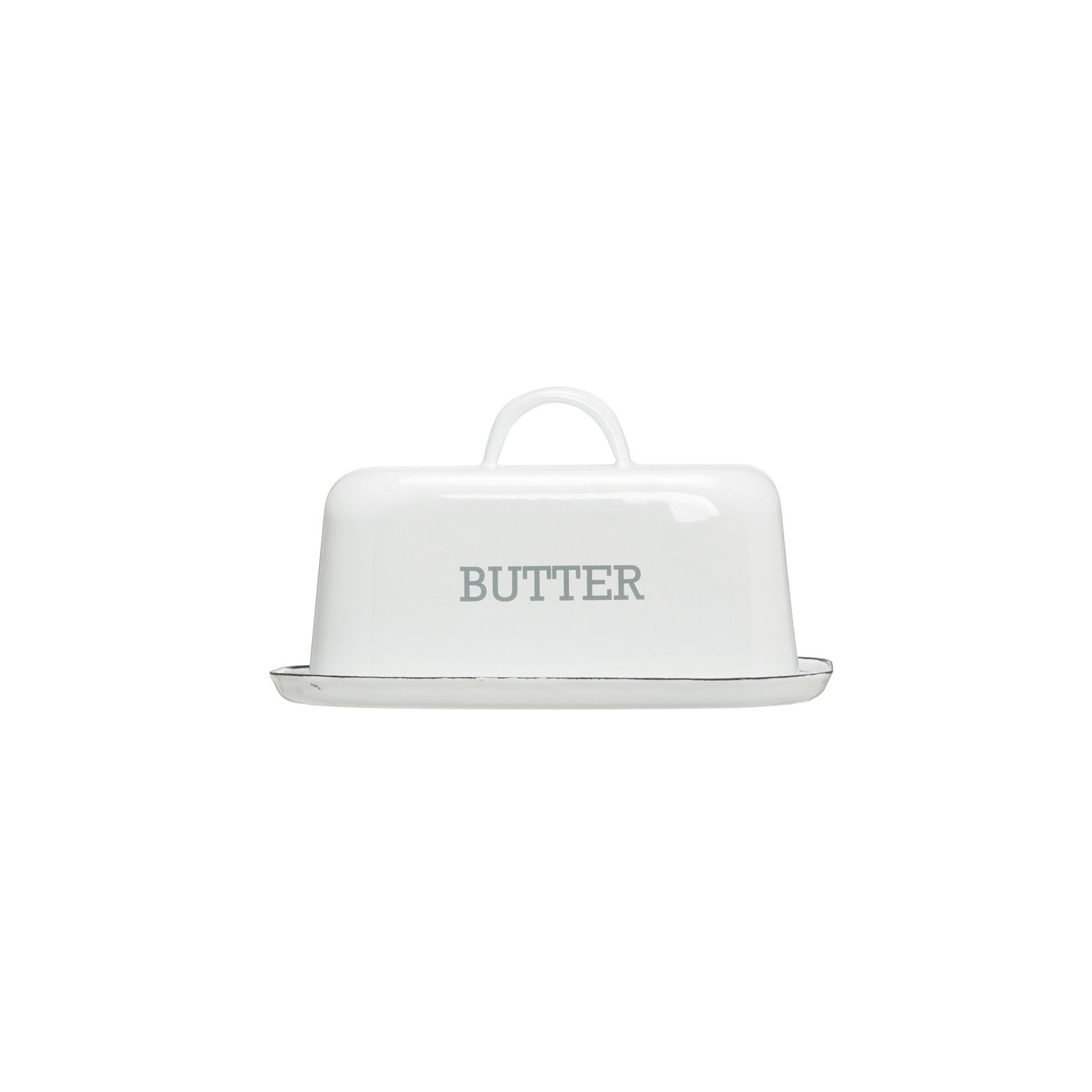"""White Enameled Steel """"Butter"""" Dish with Black Rim"""