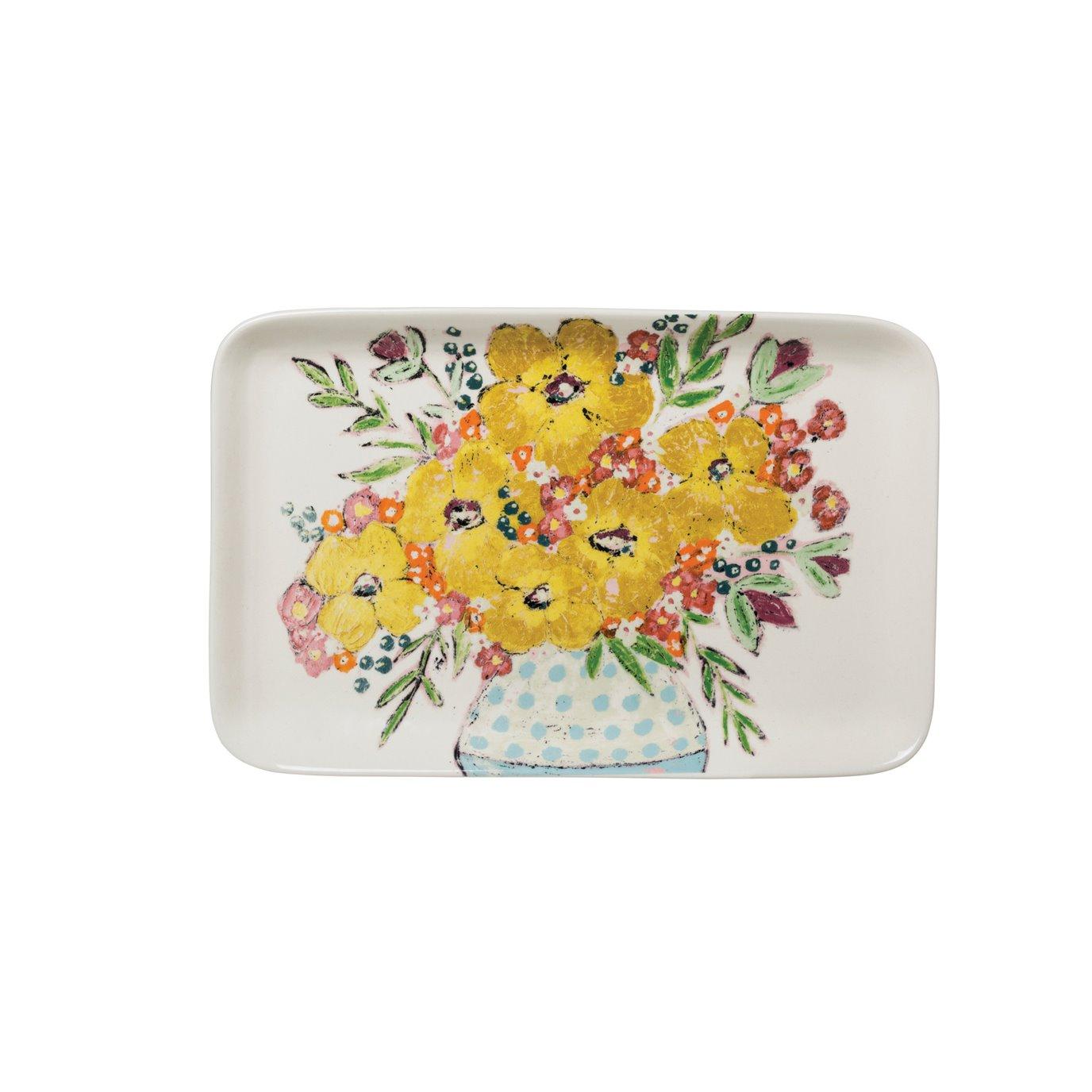 Yellow Floral Stoneware Platter