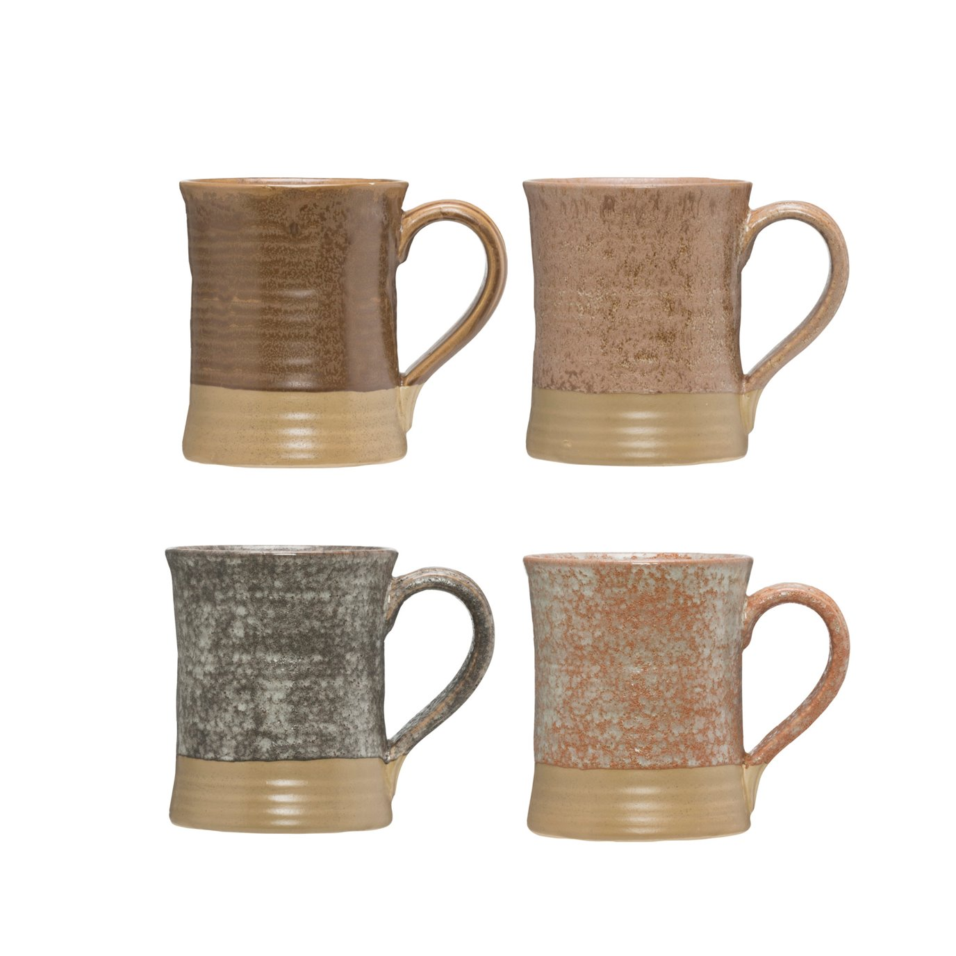 Stoneware Mug with Reactive Glaze Finish (Set of 4 Colors/Each one will vary)