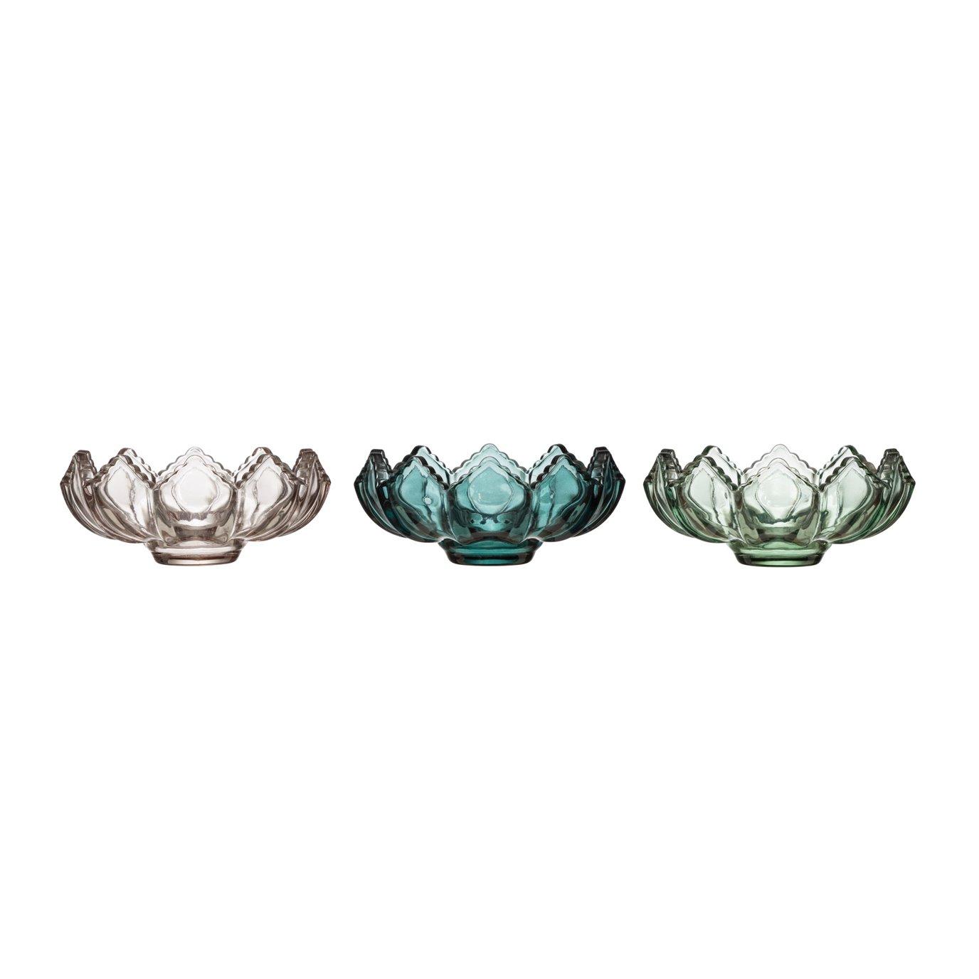 Fluted Glass Tealight Candleholder (Set of 3 Colors)